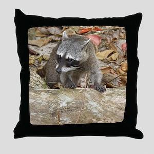 Masked Raccoon Throw Pillow