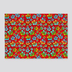 Hibiscus Multicolor Flowers On Red 5'x7'area Rug