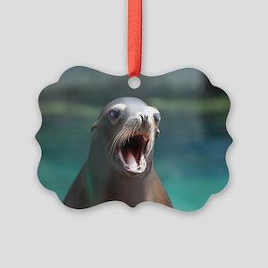 Roaring Sea Lion Picture Ornament