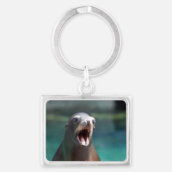 Roaring Sea Lion Landscape Keychain