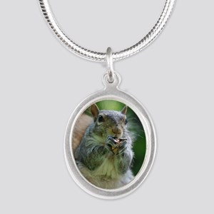 Friendly Squirrel Silver Oval Necklace