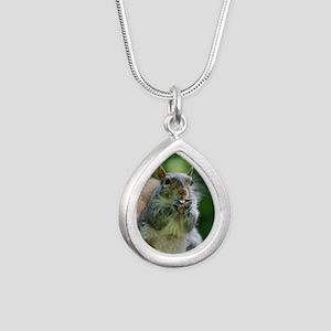 Friendly Squirrel Silver Teardrop Necklace