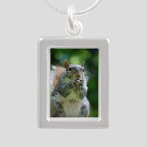 Friendly Squirrel Silver Portrait Necklace