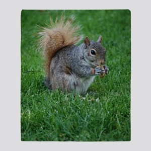 Squirrel in a Field Throw Blanket