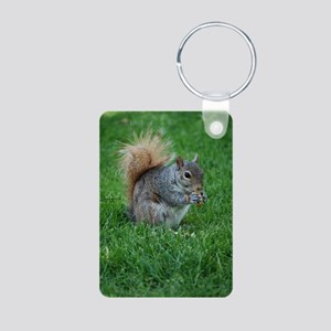 Squirrel in a Field Aluminum Photo Keychain