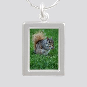 Squirrel in a Field Silver Portrait Necklace