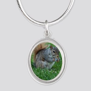 Squirrel in a Field Silver Oval Necklace