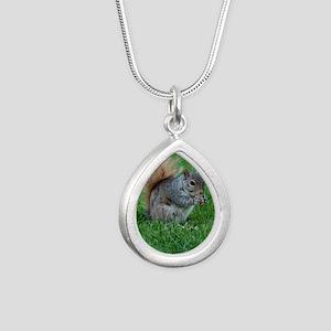 Squirrel in a Field Silver Teardrop Necklace