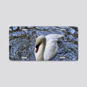 Gorgeous White Swan Aluminum License Plate