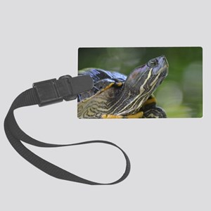 Painted Turtle on a Rock Large Luggage Tag