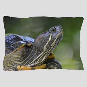 Painted Turtle on a Rock Pillow Case