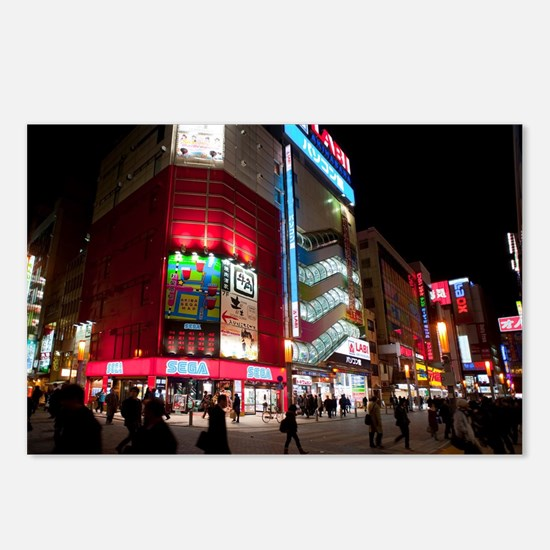 Akihabara at night Postcards (Package of 8)