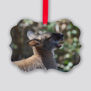 Wallaby with His Mouth Open Picture Ornament