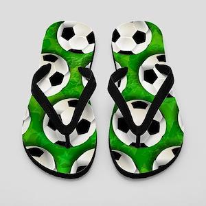 Soccer Ball Football Pattern Flip Flops