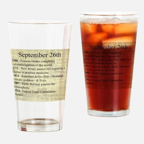September 26th Drinking Glass
