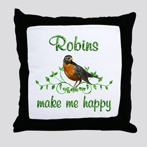 Robin Happy Throw Pillow