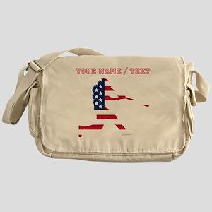 Custom Baseball Batter American Flag Messenger Bag