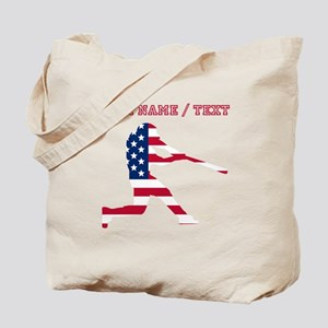 Custom Baseball Batter American Flag Tote Bag
