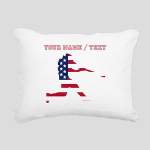 Custom Baseball Batter American Flag Rectangular C