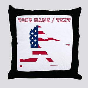 Custom Baseball Batter American Flag Throw Pillow