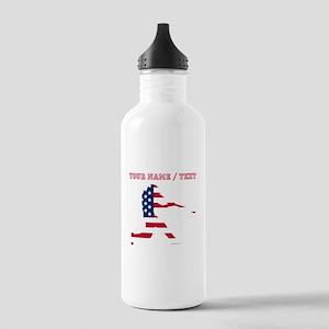 Custom Baseball Batter American Flag Water Bottle