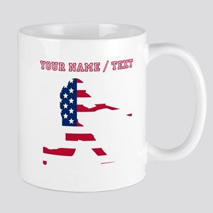 Custom Baseball Batter American Flag Mugs