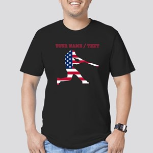 Custom Baseball Batter American Flag T-Shirt