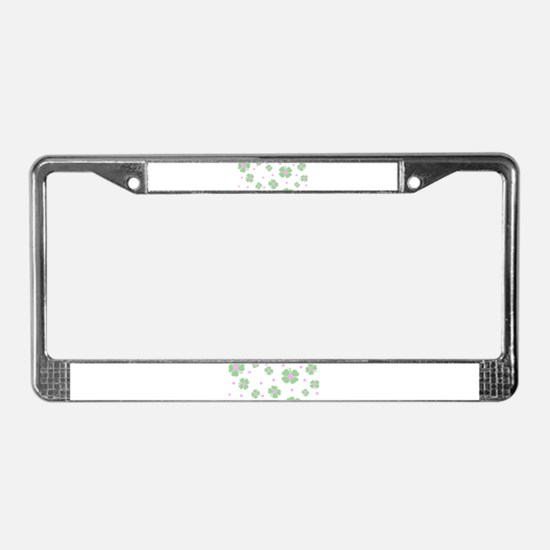 Cute Pink+Mint LUCKY IN LOVE License Plate Frame
