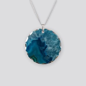 Blue agate Necklace Circle Charm