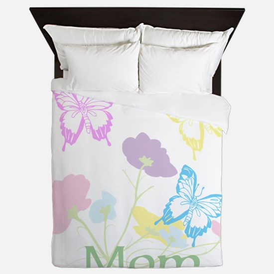 Personalize mom Flowers & Butterflies Queen Duvet