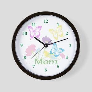 Personalize mom Flowers & Butterflies Wall Clock