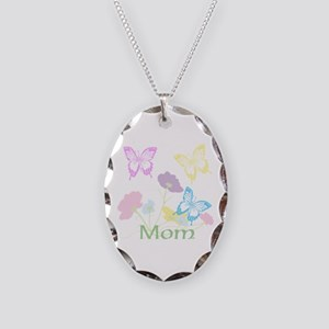 Personalize mom Flowers & Butt Necklace Oval Charm