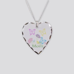 Personalize mom Flowers & But Necklace Heart Charm