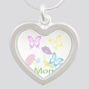 Personalize mom Flowers & Bu Silver Heart Necklace