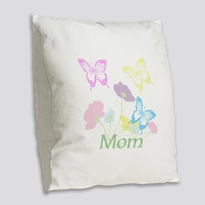 Personalize mom Flowers & Butt Burlap Throw Pillow