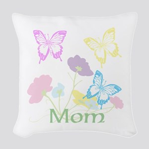 Personalize mom Flowers & Butt Woven Throw Pillow