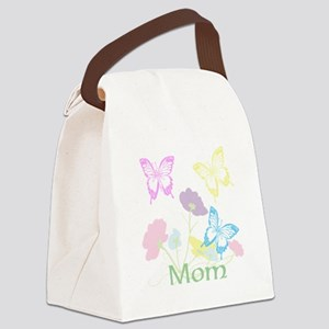 Personalize mom Flowers & Butterf Canvas Lunch Bag