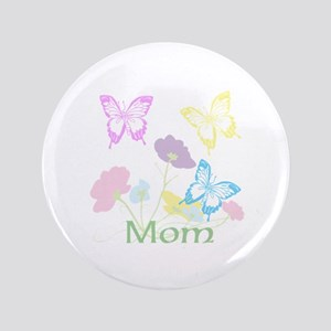 """Personalize mom Flowers & Butterflies 3.5"""" Button"""