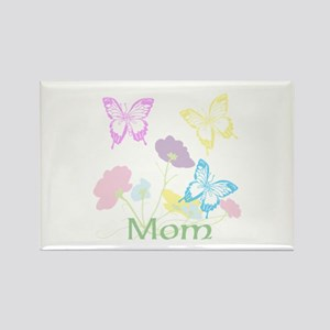Personalize mom Flowers & Butterf Rectangle Magnet