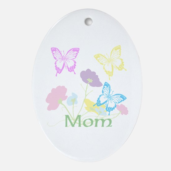 Personalize mom Flowers & Butterfl Ornament (Oval)