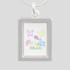 Personalize mom Flowers Silver Portrait Necklace