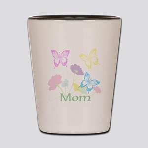 Personalize mom Flowers & Butterflies Shot Glass