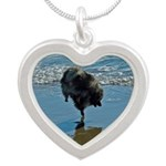 Keeshond Ballet Silver Heart Necklace