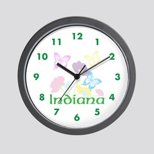 Personalize State Flowers & Butterflies Wall Clock