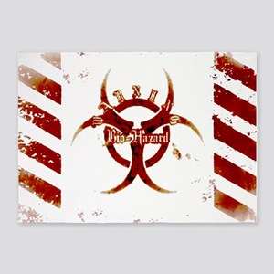 Zombie red bio-hazard Warning 5'x7'Area Rug