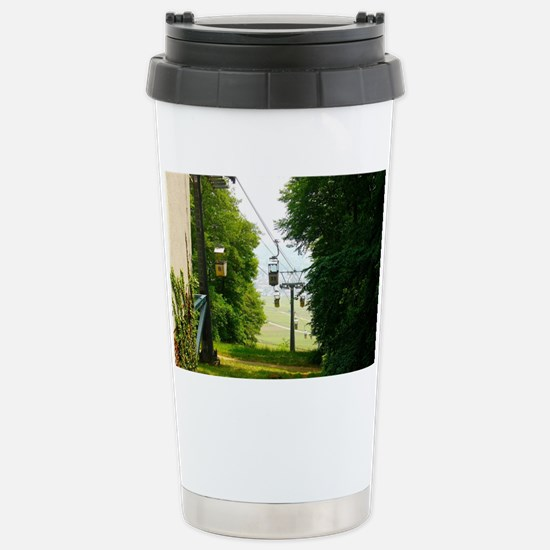 Cable Cars surrounded b Stainless Steel Travel Mug