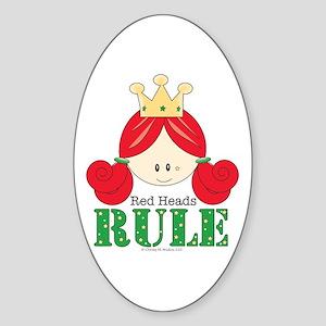 Red Heads Rule Oval Sticker