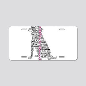 4 Paws Black Pink Aluminum License Plate