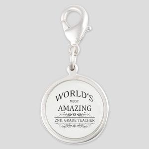 World's Most Amazing 2nd. Grad Silver Round Charm