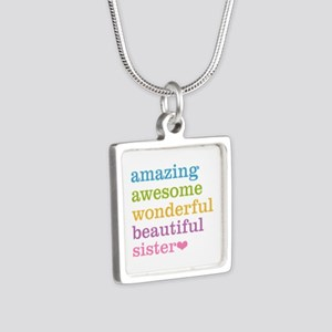 Amazing Sister Silver Square Necklace